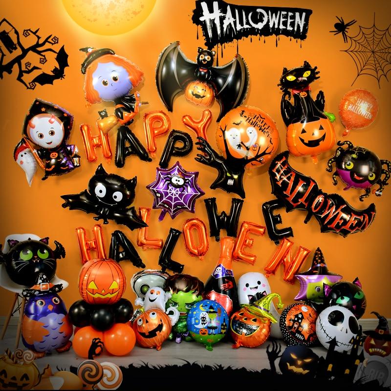 Фотофольгированные воздушные шары в виде тыквы, призрака, паука, игрушки, летучая мышь, воздушные шары, товары для хэллоуивечерние