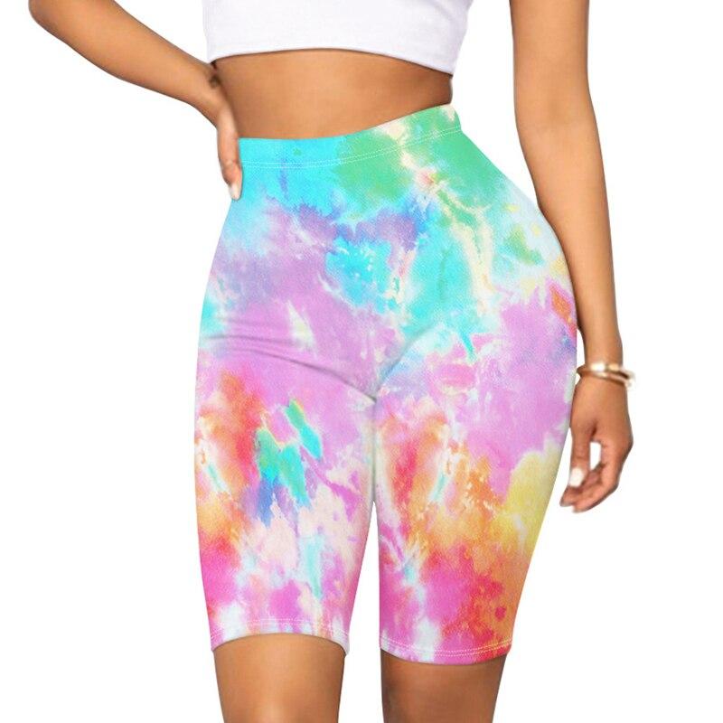 Новое поступление, женские сапоги до середины бедра короткие леггинсы с высокой талией красочные тай-дай Йога велосипедные шорты для занятия спортом, бега, комплекты одежды