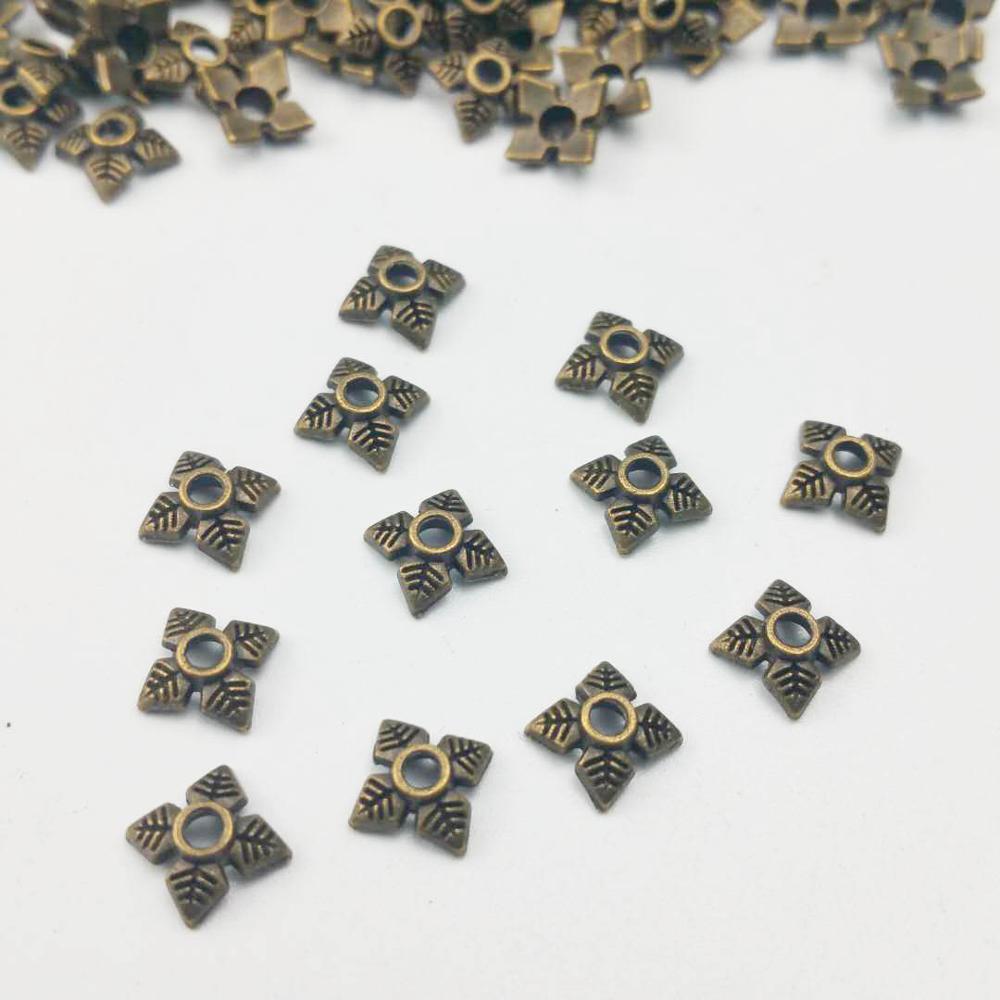100 unids/lote 6mm bronce antiguo zincy cuenta de aleación cap dijes colgante mujer estilo Retro pulsera joyería que hace artesanías hechas a mano