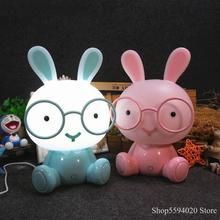 Мультяшная лампа с кроликом, милые животные, светодиодная детская комната, USB, Светодиодные ночные светильники, рождественский подарок, прикроватный декор, домашняя Ночная лампа
