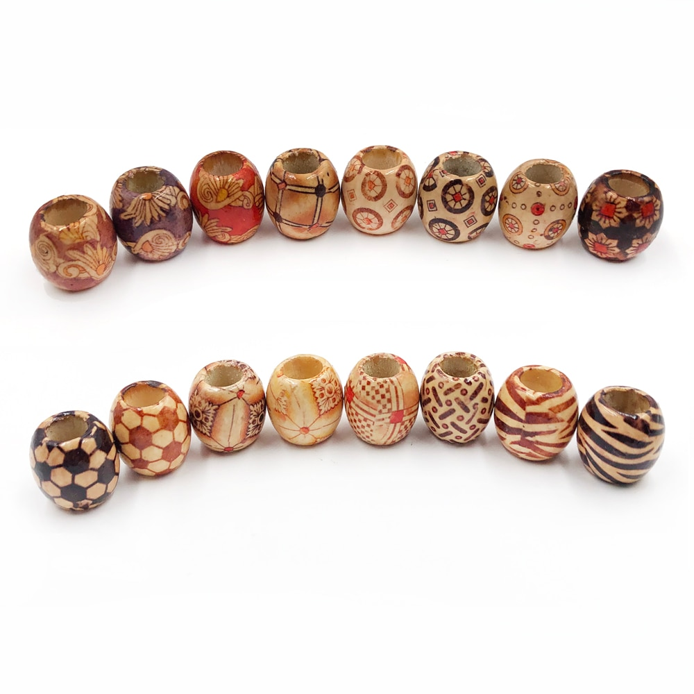 50 pc padrão flor pintado leopardo tambor de madeira grânulo grande buraco 8mm contas diy para charme pulseira colar jóias que faz acessórios