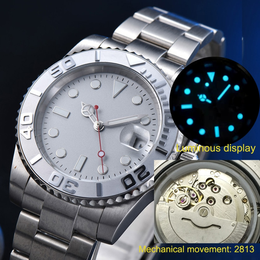 Yacht Aseptic Gray Surface Men's Automatic Mechanical Watch Stainless Steel Strap Silver 19 enlarge