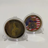 us military badge white headed eagle commemorative coin sword of saint michael archangel foreign coin gold plated collection