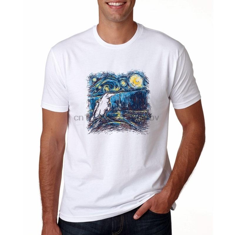 Cat Watching The Starry Night Over The Rhone T-Shirt summer men T-Shirt cute casual Tops fashion Tee Van Gogh Painting t-shirt
