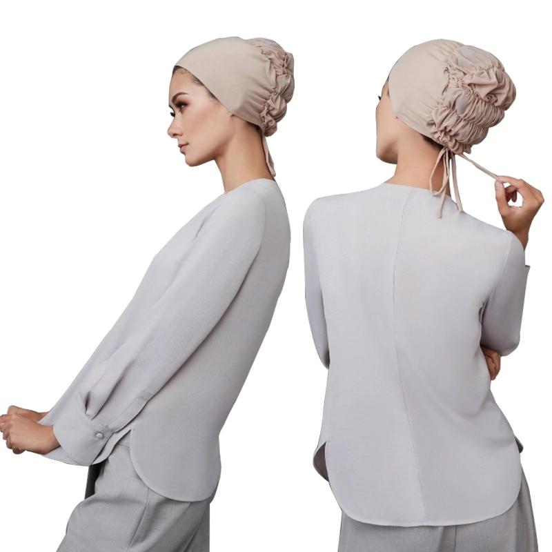 2020 модные мусульманский головной платок шапки женские хлопковые тюрбаны хиджаб женские внутренние хиджабы эластичные шапки