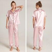 Women Pajamas Sets Plus Size Silk Women\'s Pyjamas Pajamas For Women Sleepwear Female Home Clothes Summer Free Shipping BANNIROU