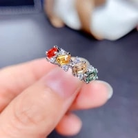 cute 925 silver rainbow crystal rings wedding engagement ring womens rings party gifts charm rhinestone instagram hots jewelry