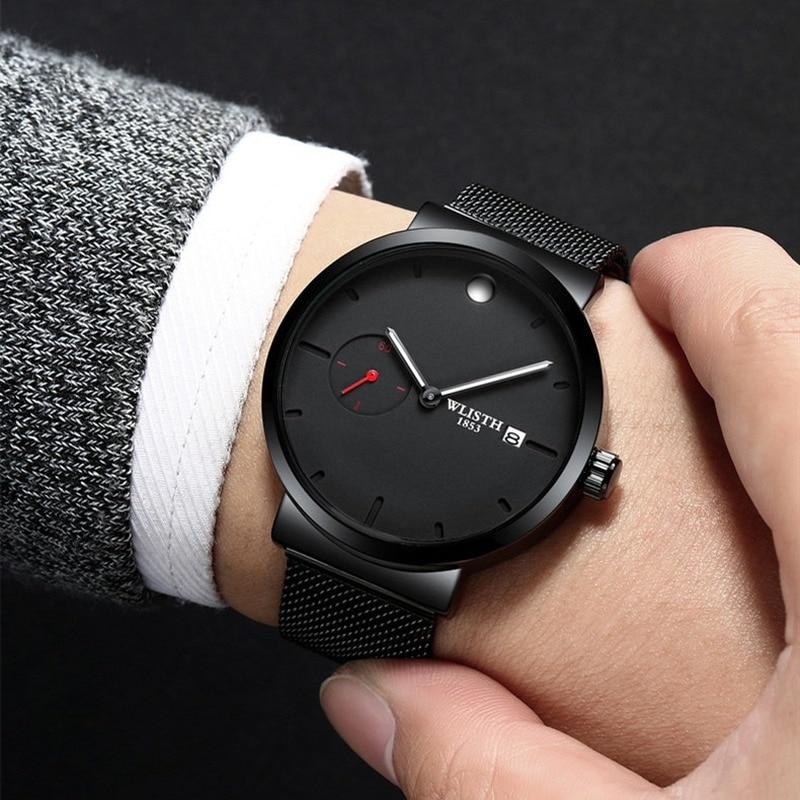 WLISTH Men's Ultimate Simple Business Watch Stainless Steel Mesh Waterproof Quartz Watch Fashion Dual Dial Calendar Clock  gift