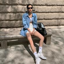 denim shirt for women leisure loose long sleeve jean jacket female coat 4050#