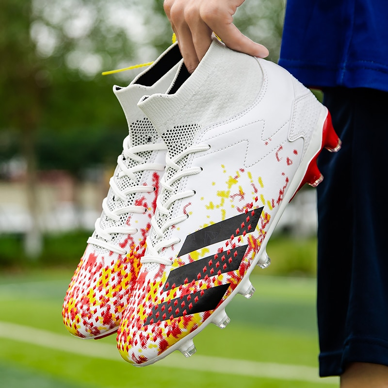 46 Original Cleats Soccer Shoes High Ankle Men Football Boots Training Sports Shoes Kids Sneakers Ou