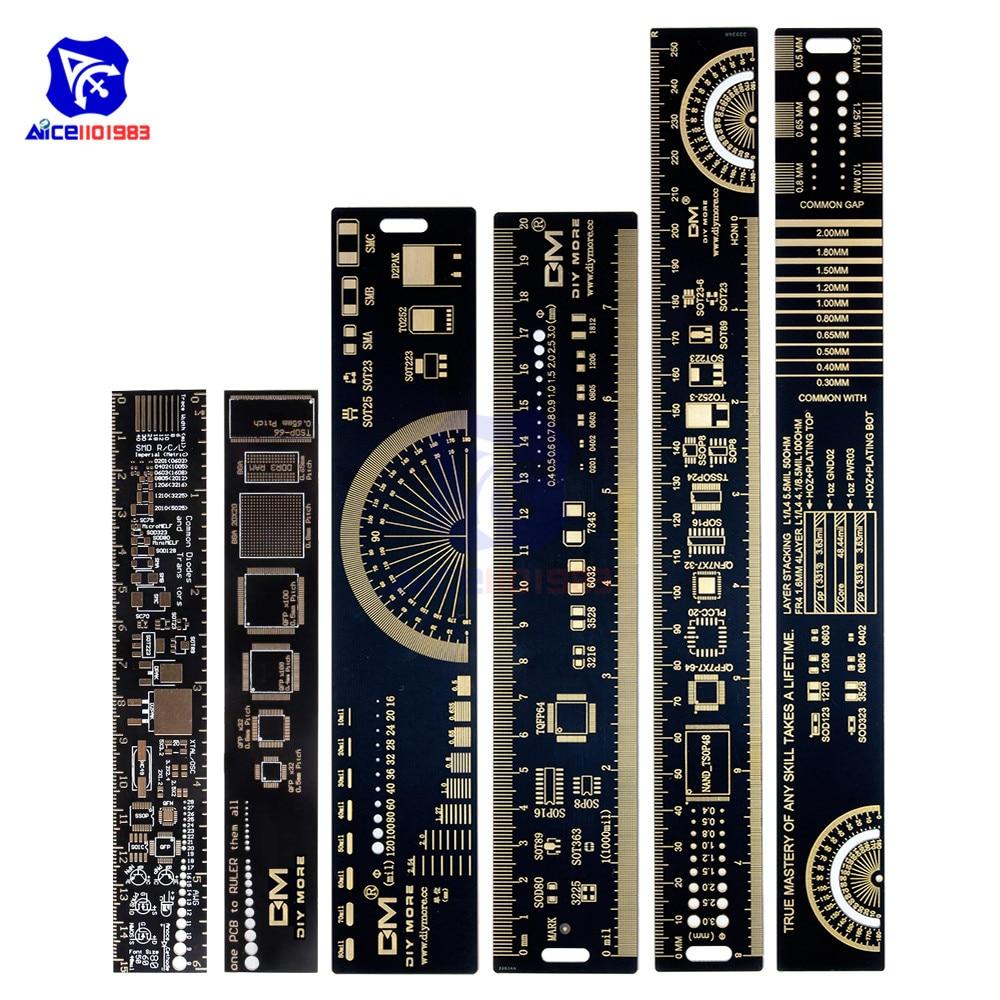 Diymore 1 ensemble 3 Type 15cm 20cm 25cm règle de carte PCB outil de mesure multifonctionnel résistance condensateur puce IC SMD Diode Transistor