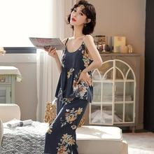 Strap Wide Leg Pants Poplin Pajamas nv chun Summer Sexy Rayon Cotton Silk Home Clothing Japanese-sty