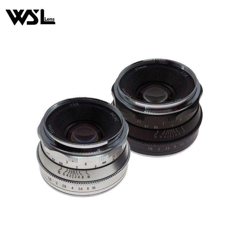 WesleyWSL 35mm F1.6 Lens for Sony NEX E-mount / for Fuji XF APS-C / Panasonic Olympus Macro 4/3 / Canon EOS-M Mirrorless Camera