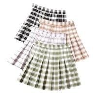 summer women pleated skirt casual high waist plaid a line mini skirts sweet girls ladies skirt fashion sexy women short skirts