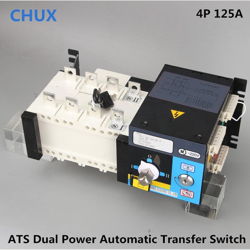 ATS 4P 125A 380V tipo de aislamiento PC grado Doble potencia Interruptor de Transferencia Automática