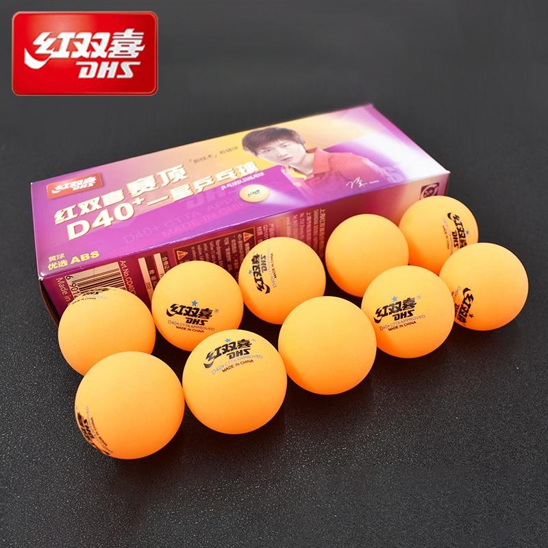 Dhs ping pong 10 embalagem competição treinamento ping-pong novo material seamed d40 + pp bola de tênis de mesa
