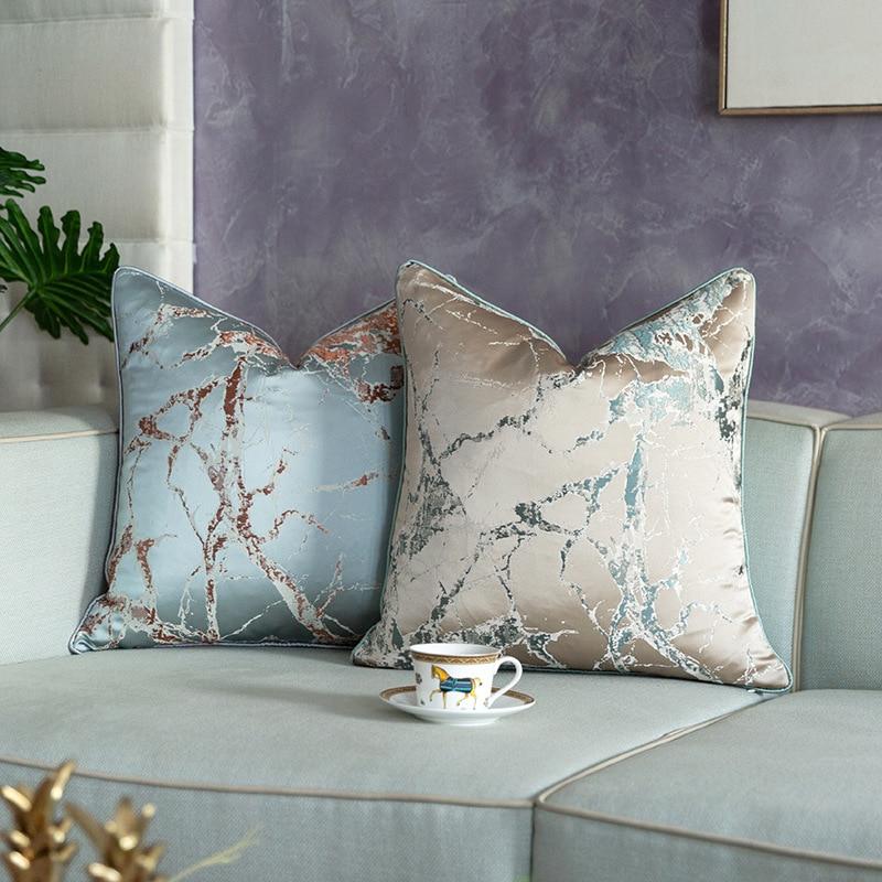 Funda de cojín decorativo para sofá jacquard de satén de lujo ligero funda de almohada con bordado de rama agrietada abstracta funda para cojín de asiento