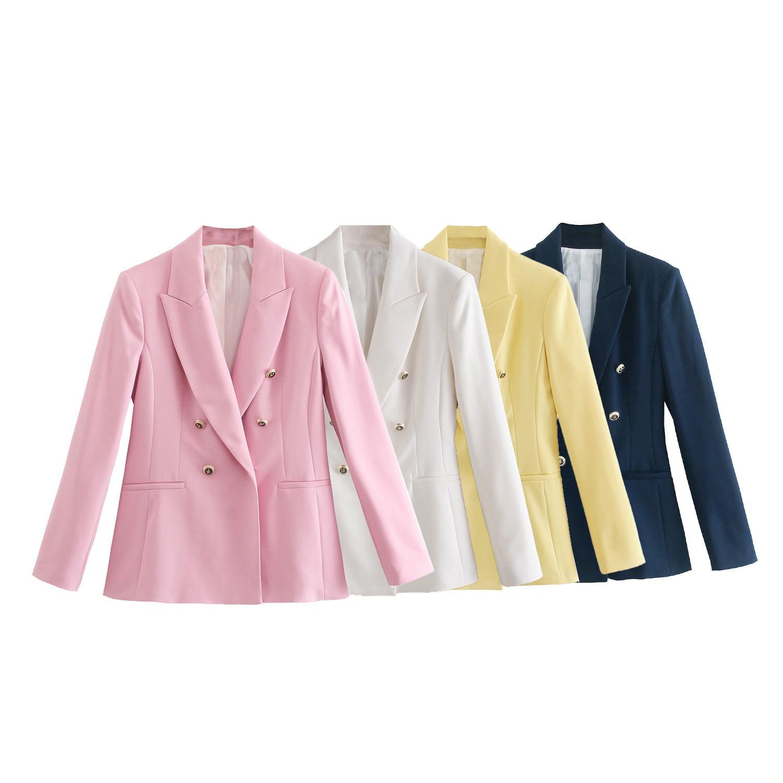 سترة نسائية أنيقة أنيقة للمكتب جاكيت عصري بياقة مدببة وأكمام طويلة بلوزة وردية اللون من bleiser de chaqueta mujer