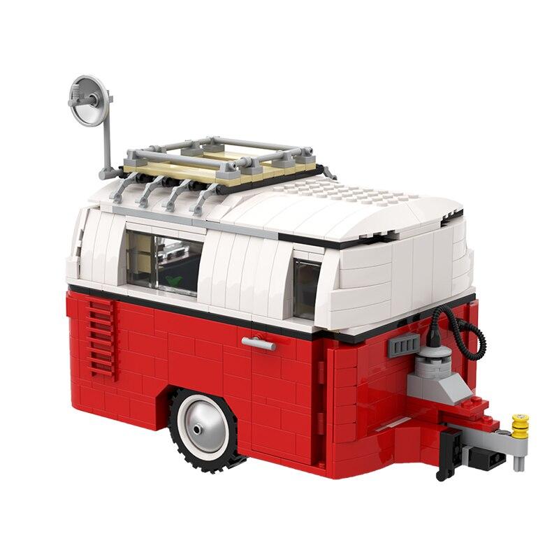 Caravan Trailer Car Creativity Expert Caravan Camping Trailer For 10220 T1 Bus Van Truck Building Blocks Kid Toys Gift