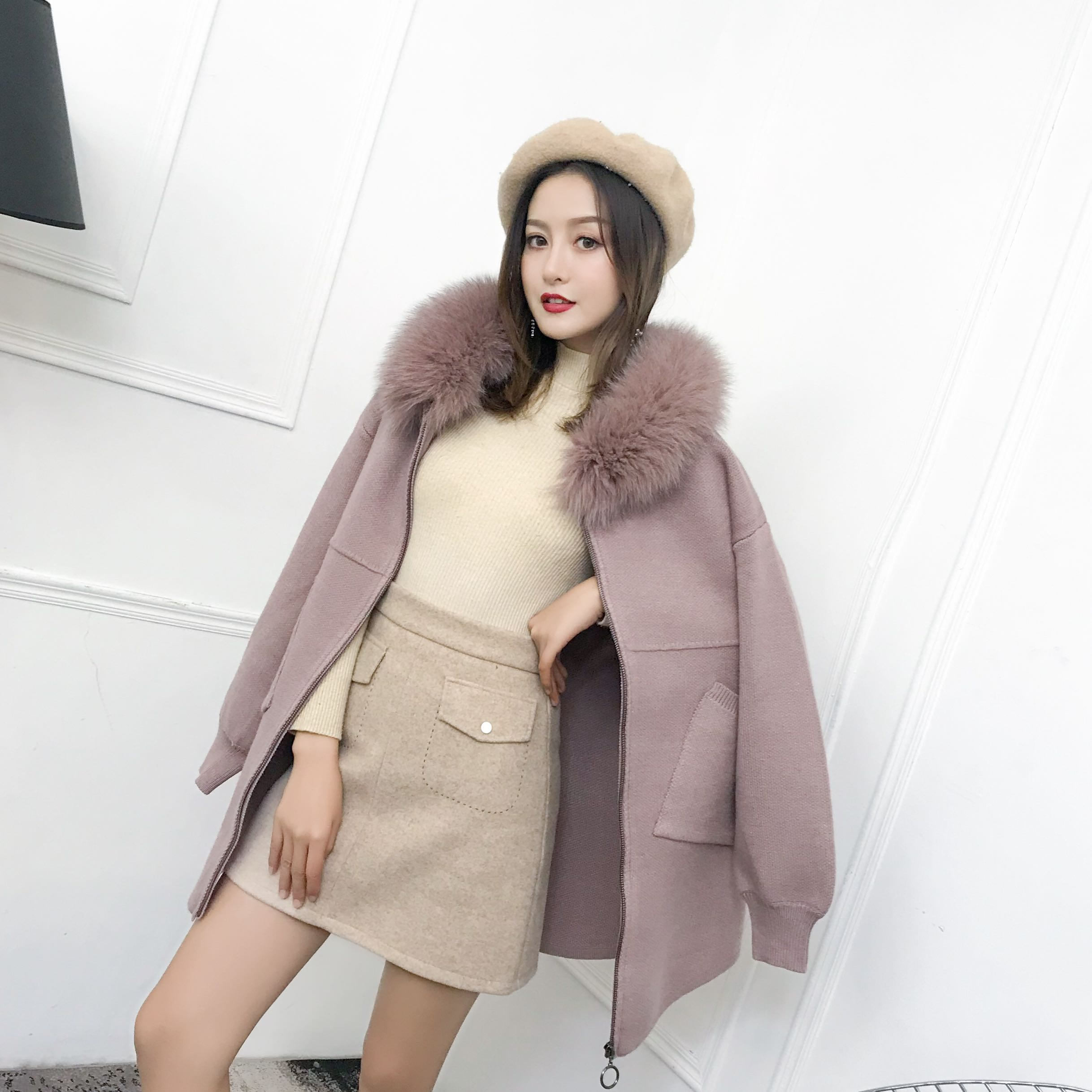 2020 winter women's sweater fashion temperament fox fur collar hooded zipper pocket thick sweater cross strap mid-length sweater enlarge