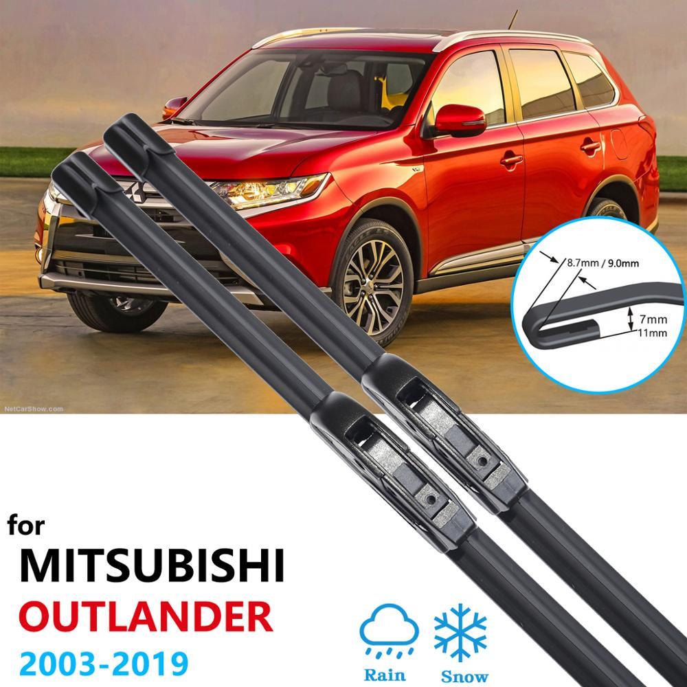 Para mitsubishi outlander 2003 2019 2007 lâmina de limpador acessórios do carro adesivos frente brisas limpadores 2008 2015 2016 2017 2018