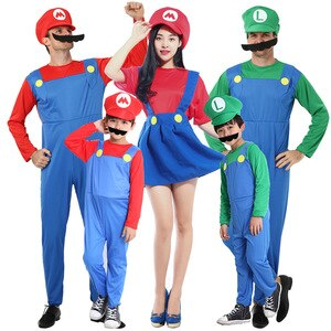 Mario Costume Jumpsuit anime cosplay theme dance Super Mario Cosplay Dance Costume Set halloween cosplay costumes for Men