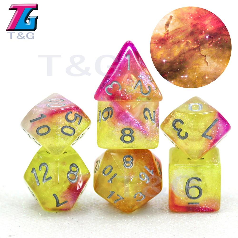 Novo colorido universo galaxy dice conjunto de D4-D20 com saco shinny effectt legal para dnd rpg boardgame festa presente