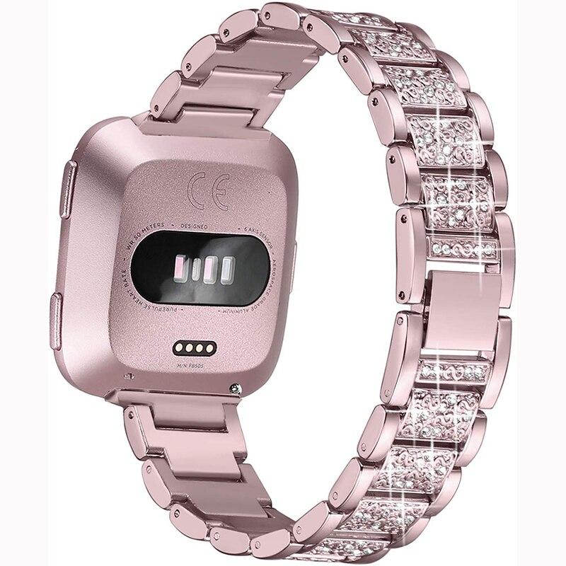 Correa de reloj con diamantes brillantes para Fitbit inversa 2 pulsera de acero inoxidable para mujer para accesorios de banda fitbit lite/verse 2