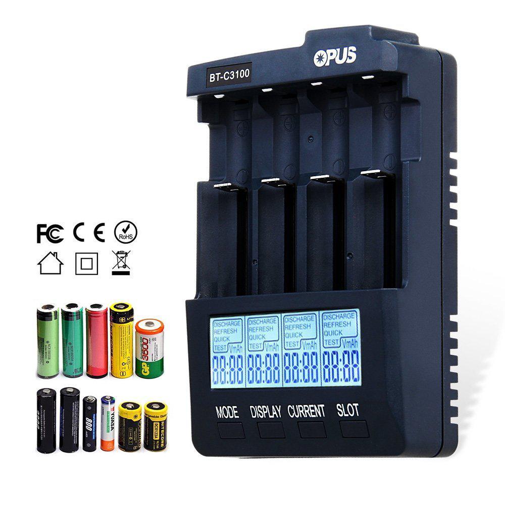 Opus BT-C3100 V2.2 Digital inteligente 4 ranuras LCD cargador de batería para Li-ion Ni-MH NiCd AA/AAA 10440 18650 batería recargable
