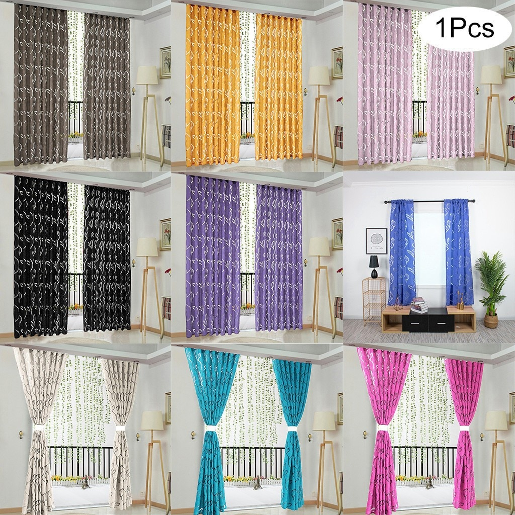 1pc viñas de la puerta de la ventana cortina Panel pura de poliéster lavable cortina para la decoración de Living de hogar de 100x130cm # LR2