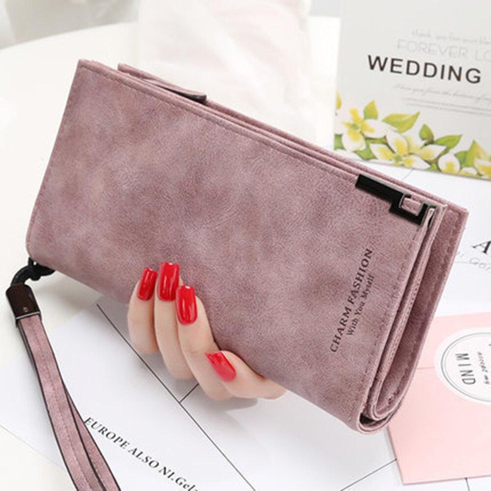 Fashion Women Wallets Matte Long Zipper Buckle Simple Handbag Zipper Coin Purse Cards ID Holder Clut