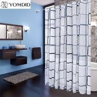 Bathroom Shower Curtains Waterproof Bath Curtain PEVA Modern Geometric Plaid Pattern Farmhouse Home Decoration Translucent