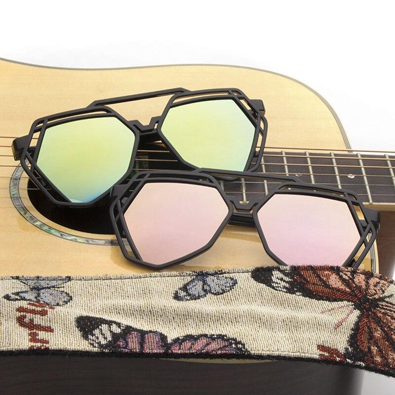 New polygonal personality retro hollow big frame sunglasses trend color film mercury men and women w
