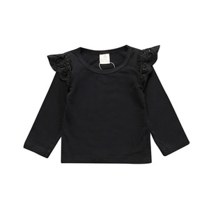 Baby Girl T-Shirt Autumn Cotton Princess Clothes Kids Cute Lace Long-Sleeved Solid ColorTop Toddler Girl Clothes Shirt For Girls