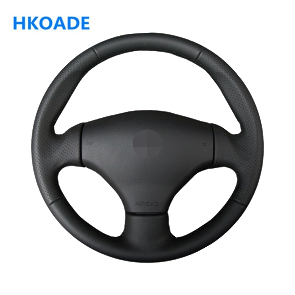 DIY Hand-stitched Black Comfortable and Soft Artificial Leather Car Accessories Steering Wheel Cover For Peugeot 206 2002-2006