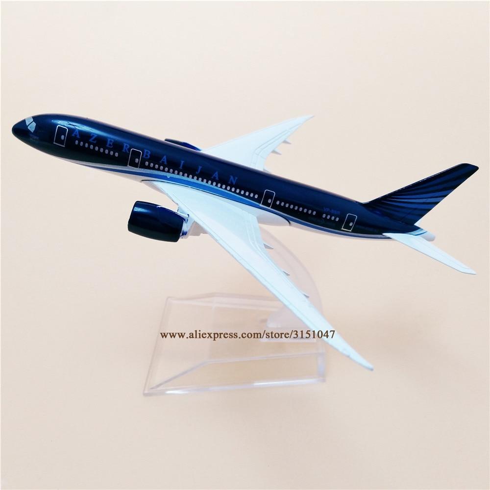 Модель самолета из сплава металла Air Azerbaijan B787 Airlines, модель самолета Boeing 787 Airways, модель самолета с подставкой, детские подарки 16 см