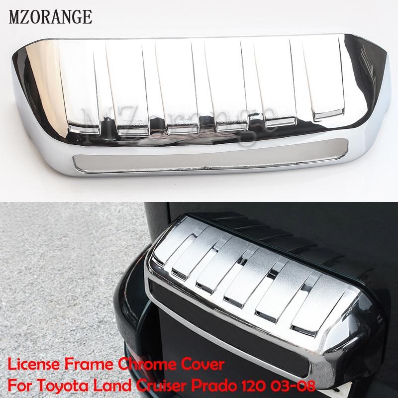 MZORANGE License Frame Chrome Cover For Toyota Land Cruiser Prado 120 2003-2008 Accessories For Toyota Land Cruiser Prado Fj120