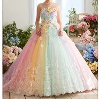 sweet colorful rainbow tutu prom dresses 2021 3d flower lace puffy ball gowns vestido formatura abiye ruffles evening gowns