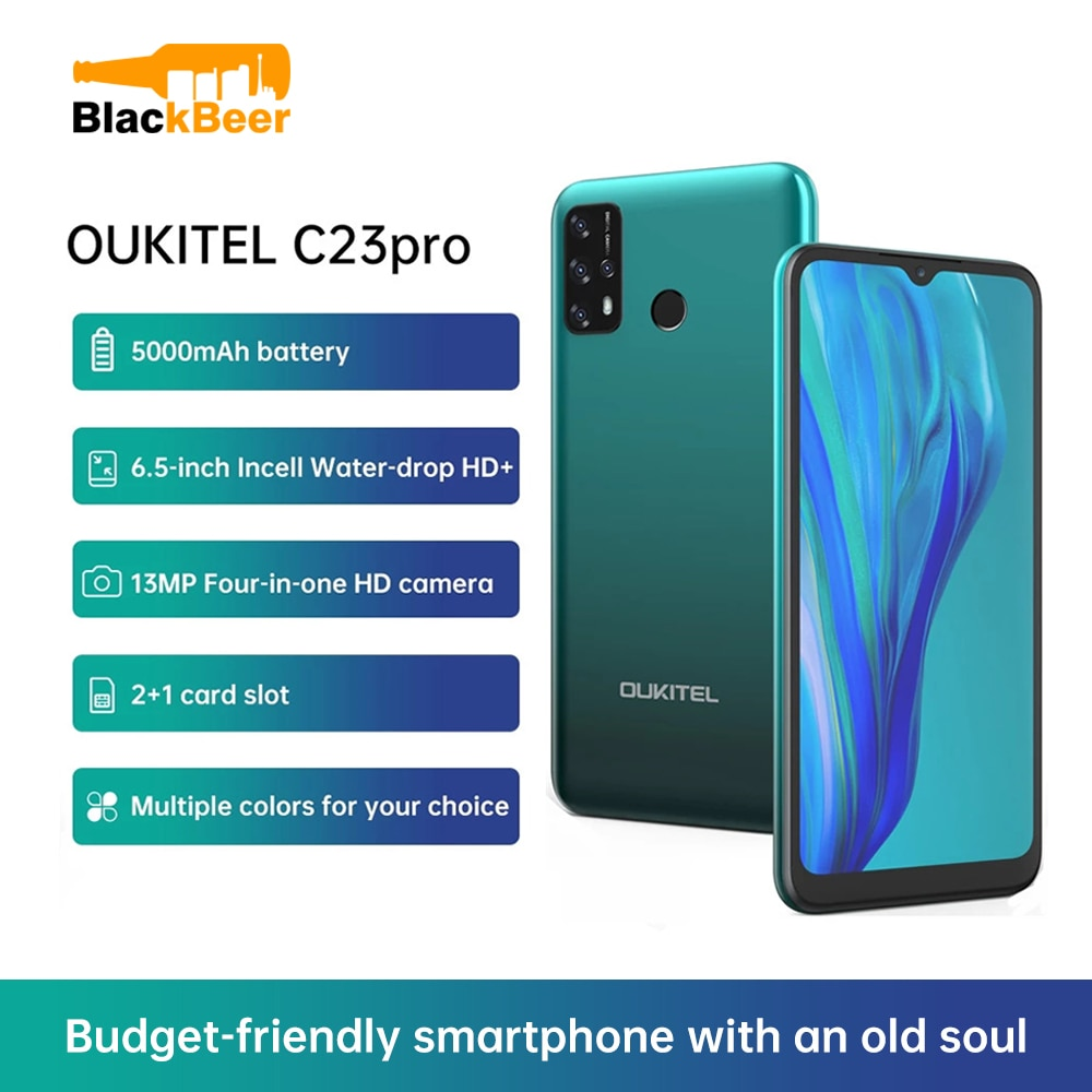 Oukitel C23 pro AndroiOukitel C23 pro Android 10 6.5 Inch Mobile Phone Octa Core 4G Smartphone 13MP Rear Camera 4G+64G Cellphone