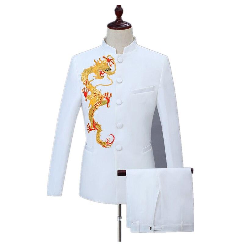 حفل زفاف الكرة يبرز عادية 2 قطعة الأبيض التلبيب البدلة مجموعة (معطف بانت) العصرية الرجال الذهبي التنين Embellished دعوى