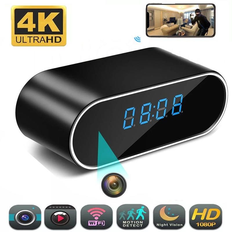 4K 1080P HD Clock Camera Wireless WIFI Camera Micro Cam IR Night View Alarm Camcorder Digital Watch Video Mini DVR Small Cam