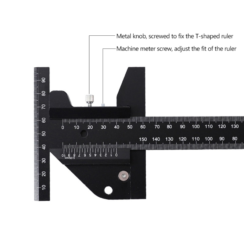 Aluminum Alloy Scale Metric Measure Scribing Ruler T Shape Woodworking Carpentry Marking Tool Line Drawing Ruler 32CA