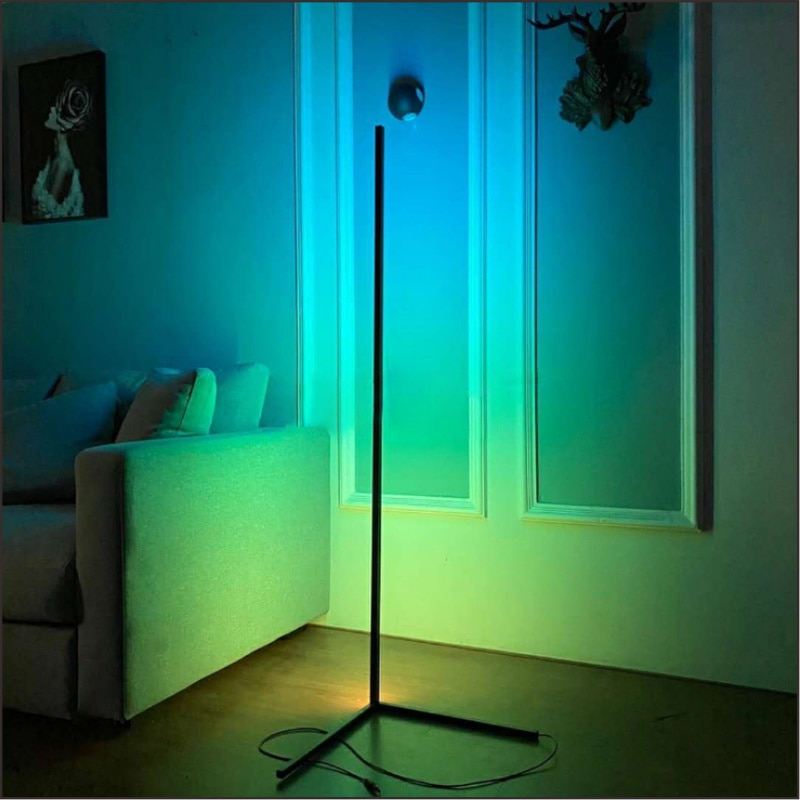 Bluetooth LED Corner RGB Floor Lamp Smart Remote Control Dimming Standing Lamp for Modern Office Bedroom Decoration Warm Light