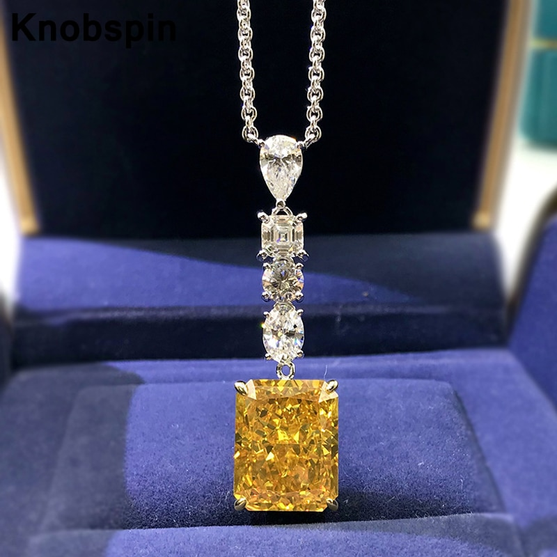 Get Knobspin 100% 925 Sterling Silver Yellow 12*15mm High Carbon Diamond Simple Pendant Necklace For Women Wedding Fine Jewelry Gift