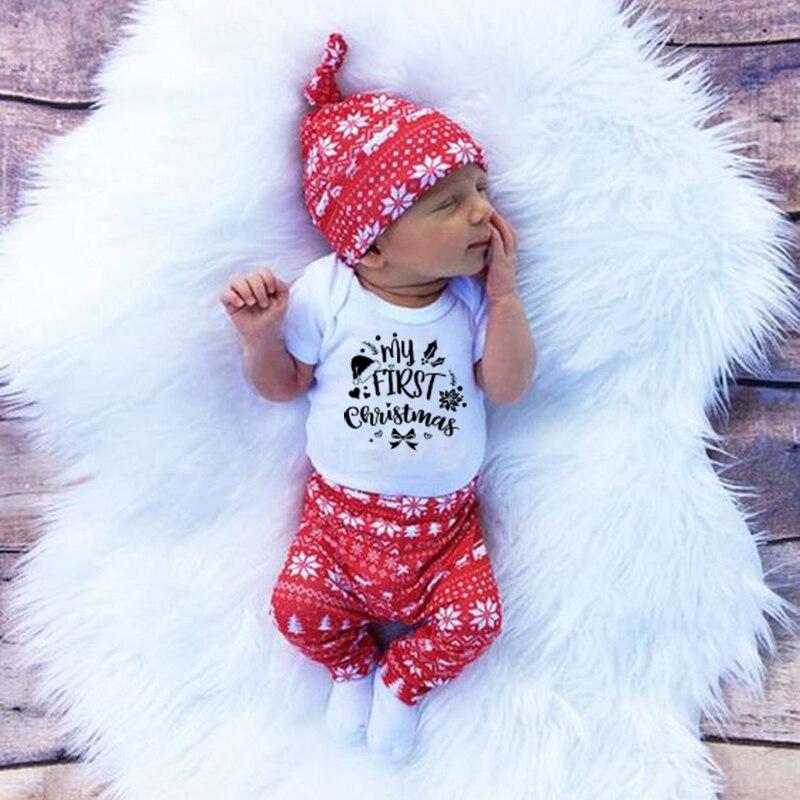 My First Christmas Newborn Baby Boy Girl, atuendos de peleles de algodón para bebés, vestido divertido de manga corta para fiesta, mono de moda para niños pequeños