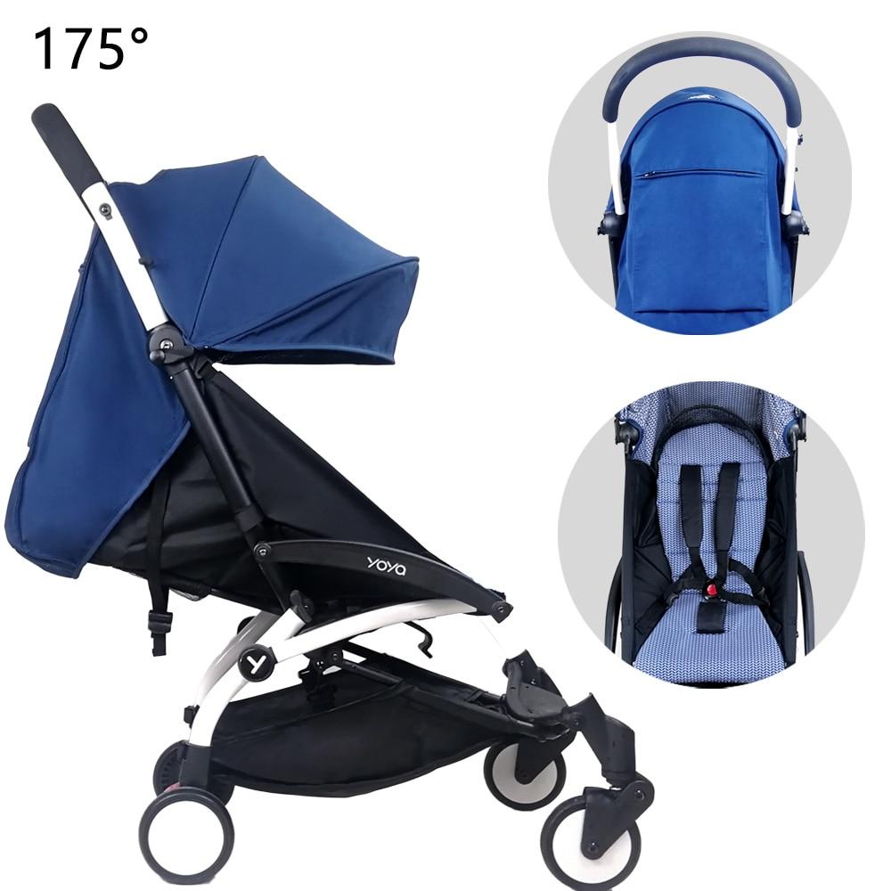 175 Degrees Hood & Mattress For Babyzen Yoyo Yoya Original Canopy Cover Fabric With Back Zipper Pocket Baby Stroller Accessories