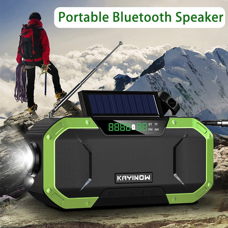 Protable Solar Hand Crank Radio Dynamo Powered Bluetooth Speaker Speakers Weather Radio Use Emergency 5000mAh Power Bank