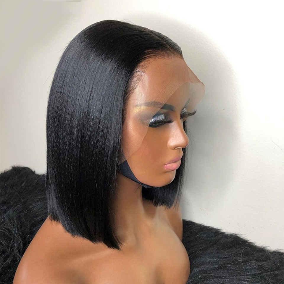 Черный Боб Яки прямой синтетический кружевной передний парик бесклеевые термостойкие волосы натуральные волосы для женщин парики