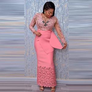 Aso Ebi Long Evening Dresses Pink Full Sleeve abendkleider Prom Gowns Sheath Straight Elegant Formal Dress Custom Abiye