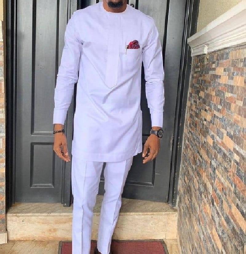 Afrikanische mode shirts patch hose feste weiß hose sets senator stil männlich bräutigam anzüge plus größe party tragen Afrikanische kleidung